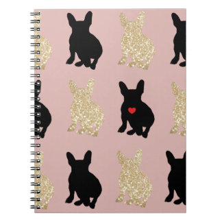 Frenchie Silhouette Pattern Notebooks