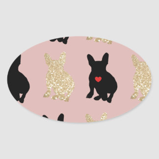 Frenchie Silhouette Pattern Oval Sticker