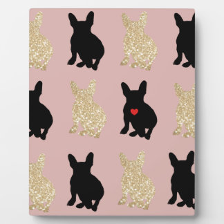Frenchie Silhouette Pattern Plaque