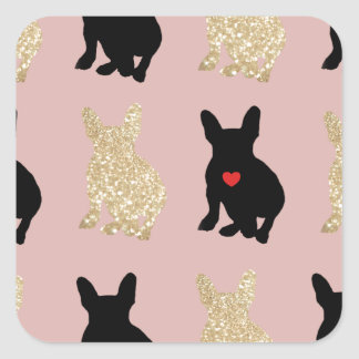 Frenchie Silhouette Pattern Square Sticker
