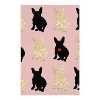 Frenchie Silhouette Pattern Stationery