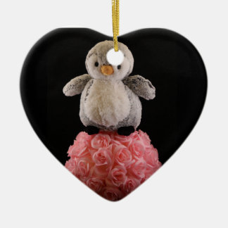 Frenchie the Penguin Ceramic Heart Ornament