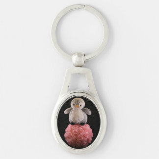 Frenchie the Penguin Oval Metal Keychain