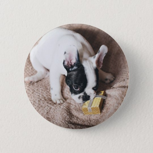 Frenchie With a Gift 2 Inch Round Button