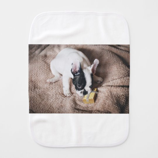 Frenchie With a Gift Burp Cloth