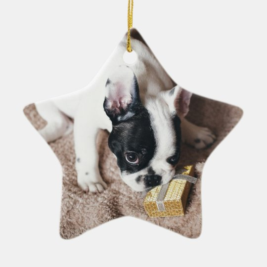 Frenchie With a Gift Ceramic Ornament
