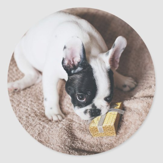 Frenchie With a Gift Classic Round Sticker