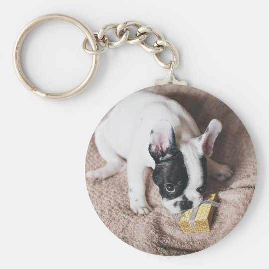 Frenchie With a Gift Keychain
