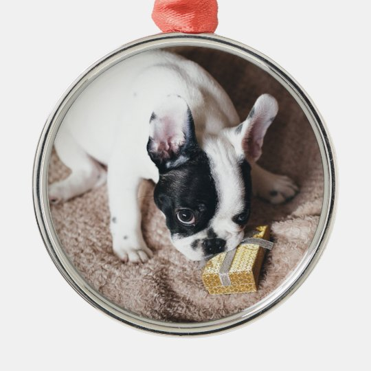 Frenchie With a Gift Metal Ornament