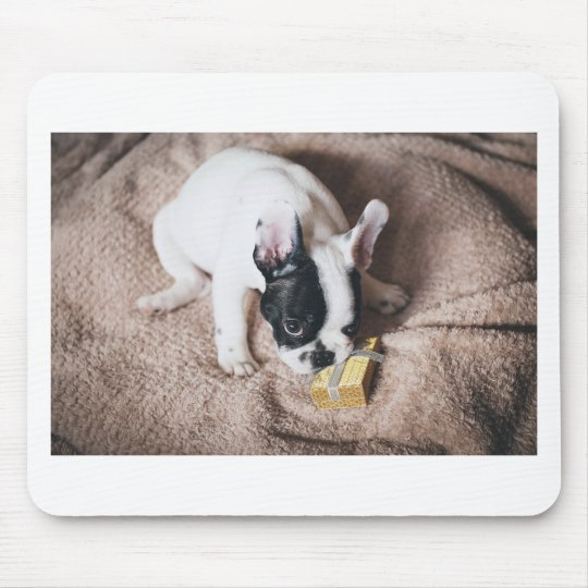 Frenchie With a Gift Mouse Pad