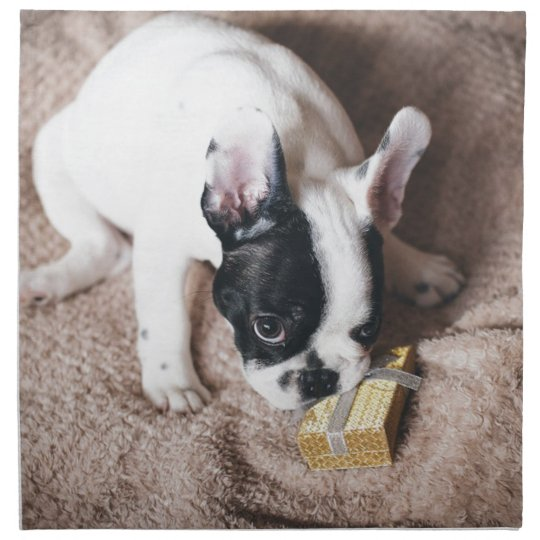 Frenchie With a Gift Napkin