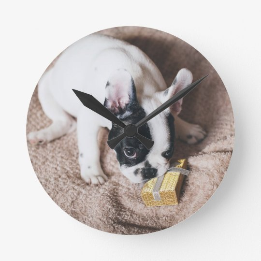 Frenchie With a Gift Round Clock
