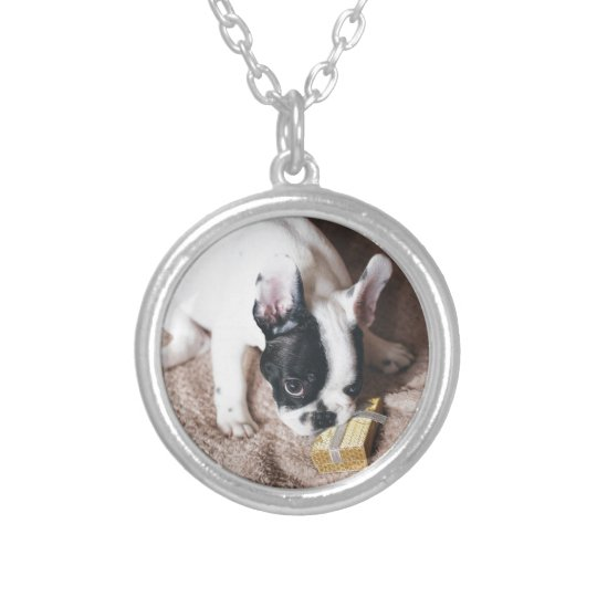 Frenchie With a Gift Silver Plated Necklace