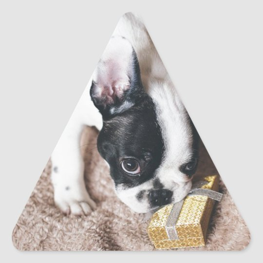 Frenchie With a Gift Triangle Sticker