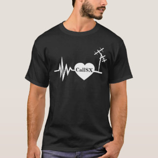 Frequency Line Love Ham Radio T-shirt Black