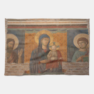 Fresco Of Madonna And Child Kitchen Towels