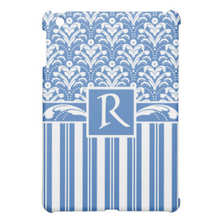 Fresh and Elegant Art Deco Blue and White Damask iPad Mini Cases