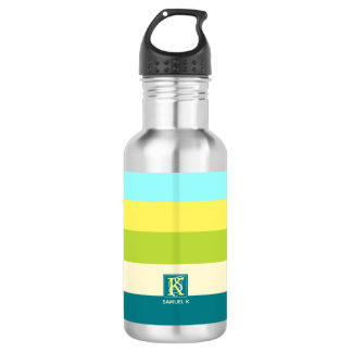 Fresh and Happy Colorful Stripes Monogram 532 Ml Water Bottle