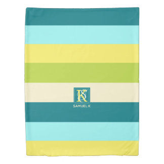 Fresh and Happy Colorful Stripes Monogram Duvet Cover