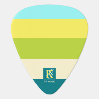 Fresh and Happy Colorful Stripes Monogram Guitar Pick