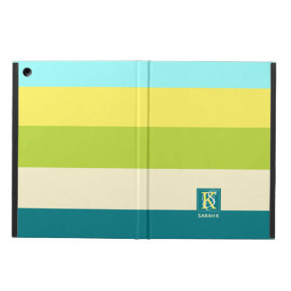 Fresh and Happy Colorful Stripes Monogram iPad Air Cover