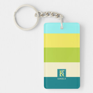Fresh and Happy Colorful Stripes Monogram Keychain