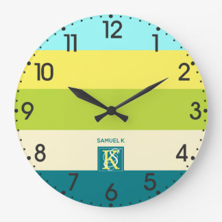 Fresh and Happy Colorful Stripes Monogram Large Clock