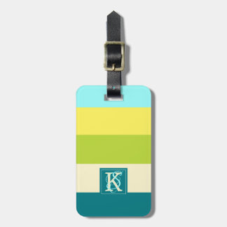 Fresh and Happy Colorful Stripes Monogram Luggage Tag