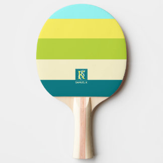 Fresh and Happy Colorful Stripes Monogram Ping Pong Paddle