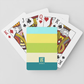Fresh and Happy Colorful Stripes Monogram Playing Cards