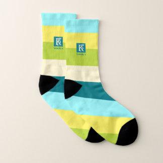 Fresh and Happy Colorful Stripes Monogram Socks