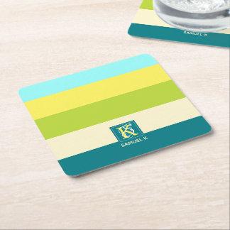 Fresh and Happy Colorful Stripes Monogram Square Paper Coaster