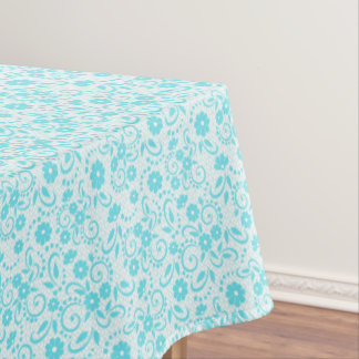 Fresh and pretty aqua and white whimsy floral tablecloth
