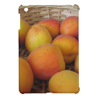 Fresh apricots in a wicker basket case for the iPad mini