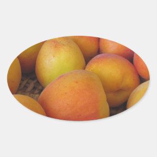 Fresh apricots in a wicker basket oval sticker