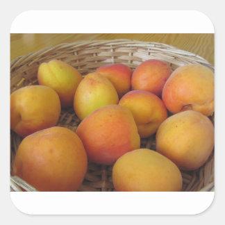 Fresh apricots in a wicker basket square sticker