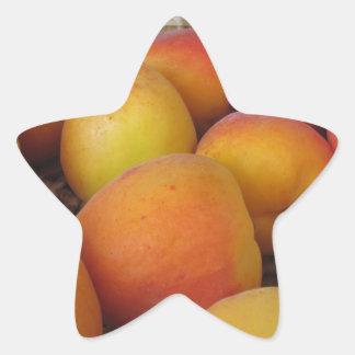 Fresh apricots in a wicker basket star sticker