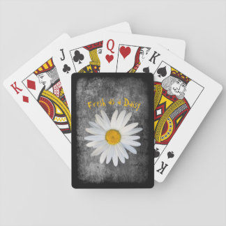 Fresh as a Daisy on Black and White texture Playing Cards