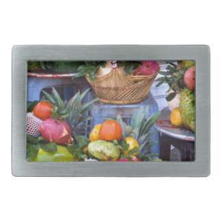 Fresh Asian Fruits Rectangular Belt Buckle