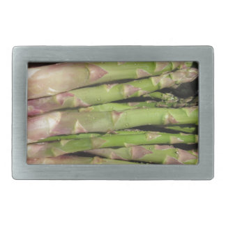 Fresh asparagus hand picked from the garden belt buckles
