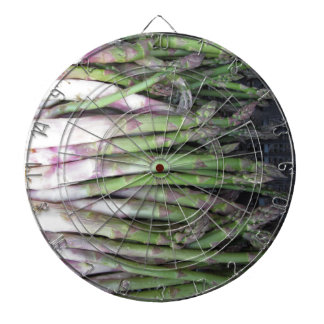 Fresh asparagus hand picked from the garden dartboard