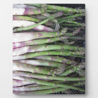 Fresh asparagus hand picked from the garden plaque