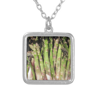 Fresh asparagus hand picked from the garden silver plated necklace