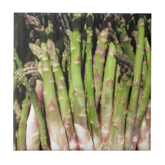 Fresh asparagus hand picked from the garden tile
