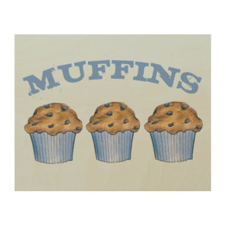 Fresh Baked Blueberry Muffins Food Kitchen Gift Wood Wall Art