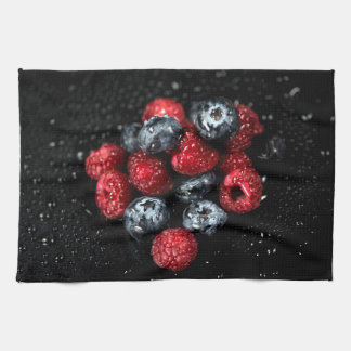 Fresh berries kitchen towel, dark luscious foodie kitchen towel