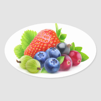 Fresh berries oval sticker