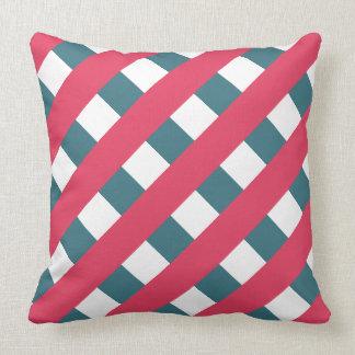 Fresh Berry and Teal Diagonal Stripes on White Throw Pillow