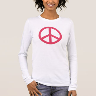 Fresh Berry Pink Peace Symbol Personalized Long Sleeve T-Shirt