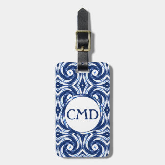 Fresh Blue and White Tie-Dye Style Swirls Pattern Luggage Tag